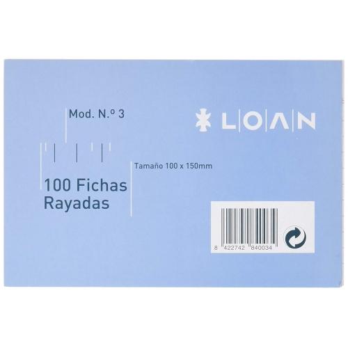 LOAN F-3 Rayada. 100 fichas rayadas nº 3 de 100 x 150 mm.
