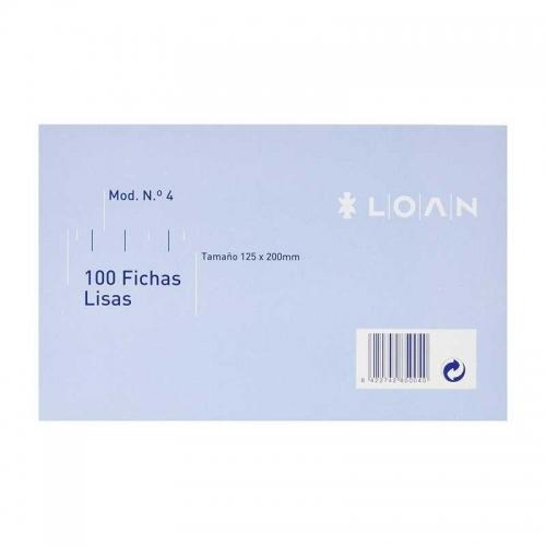 LOAN F-4 Lisa. 100 fichas lisas nº 4 de 125 x 200 mm.