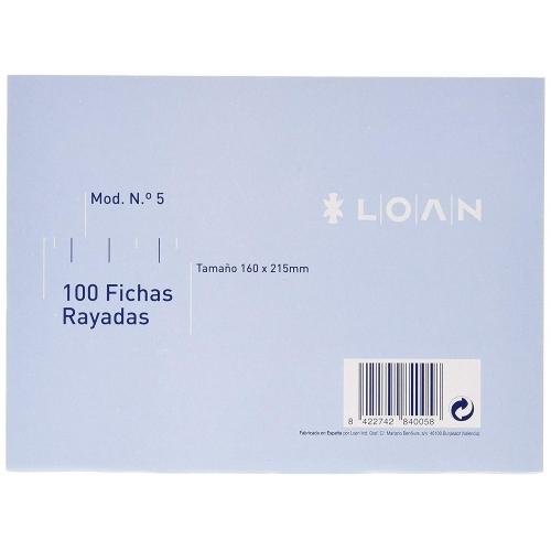 LOAN F-5 Rayada. 100 fichas rayadas nº 5 de 160 x 215 mm.