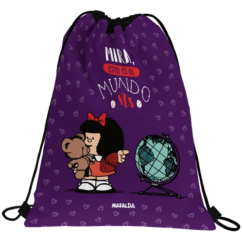GRAFOPLAS 37610585. Mochila saco con cuerdas Mafalda Mundo