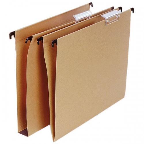 GRAFOPLÁS 00011049 Pack 25 carpetas colgantes Folio prolongado kraft 240 gr con visor superior y lomo en V.