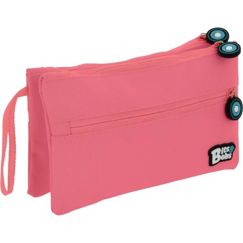 GRAFOPLAS 37545353. Estuche escolar portatodo Doble Plano Bits&Bobs rosa claro