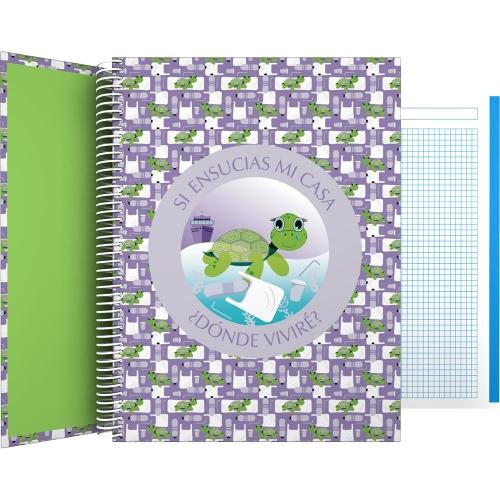 GRAFOPLÁS 16502628. Cuaderno tapa dura A4, 100 hojas, Planet Tortuga