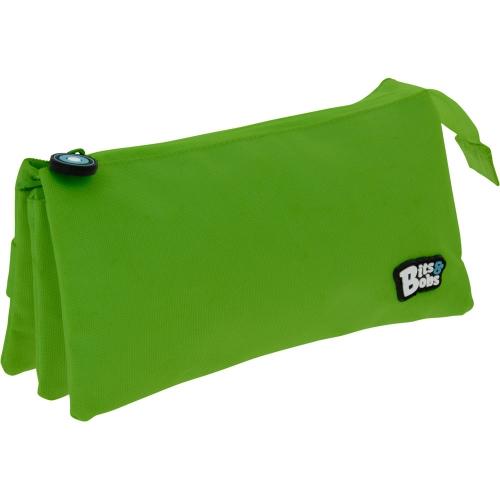 GRAFOPLAS 37545420. Estuche escolar portatodo triple plano Bits&Bobs verde