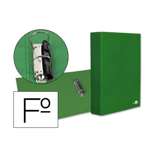 Liderpapel 25306. Carpeta de 2 anillas 40 mm mixtas folio carton forrado plástico verde