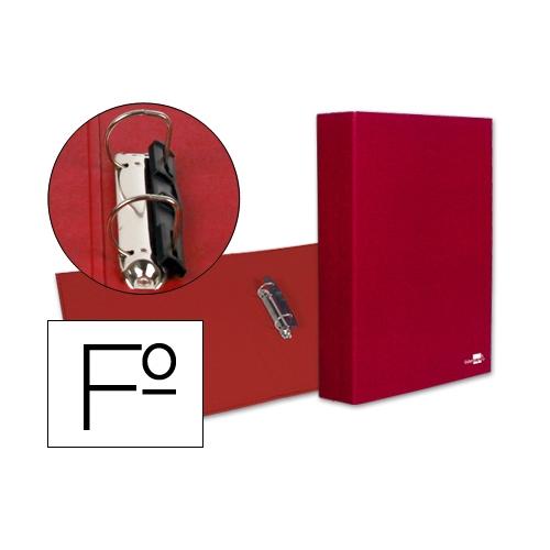 Liderpapel 25307. Carpeta de 2 anillas 40 mm mixtas folio carton forrado plástico roja