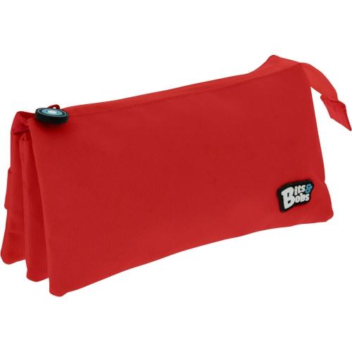 GRAFOPLAS 37545451. Estuche escolar portatodo triple plano Bits&Bobs rojo