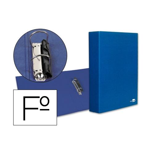 Liderpapel 25308. Carpeta de 2 anillas 40 mm mixtas folio carton forrado plástico azul