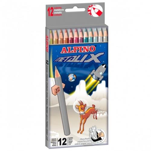 ALPINO AL000167. Estuche de 12 lápices de colores con mina metalizada