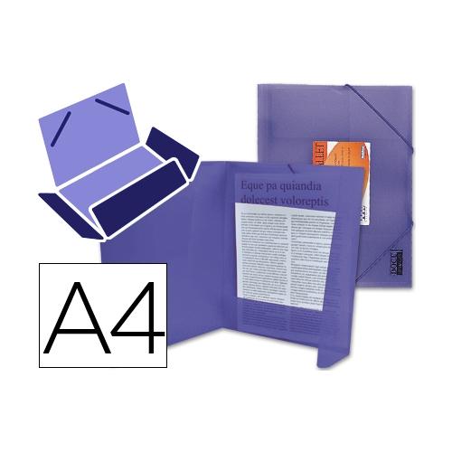 Liderpapel 25616. Carpeta  con gomas y solapas DIN A4 de polipropileno violeta
