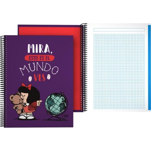GRAFOPLÁS 16502638. Cuaderno tapa dura A4, 100 hojas, Mafalda Mundo