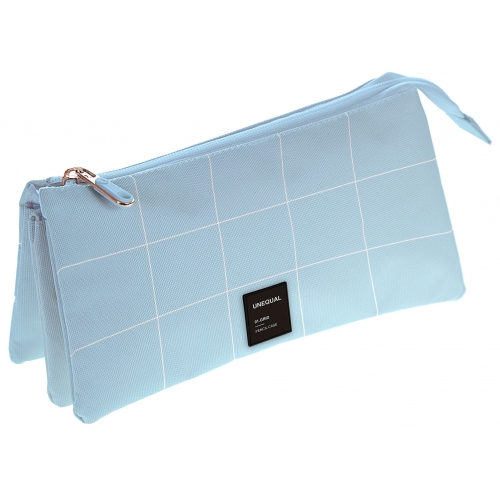 GRAFOPLAS 37542633. Estuche escolar portatodo triple Unequal Grid azul claro