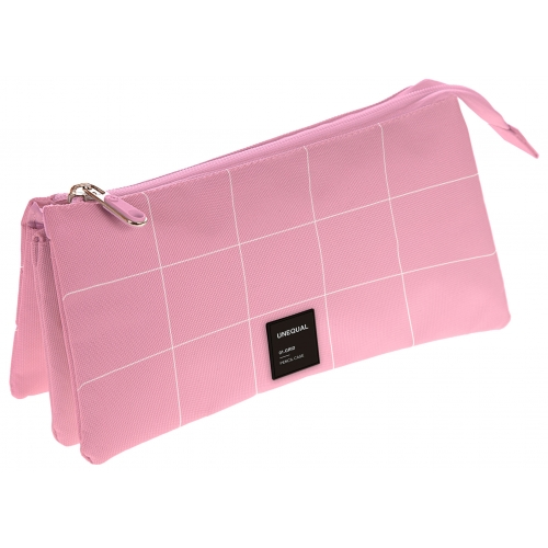 GRAFOPLAS 37542653. Estuche escolar portatodo triple Unequal Grid rosa claro