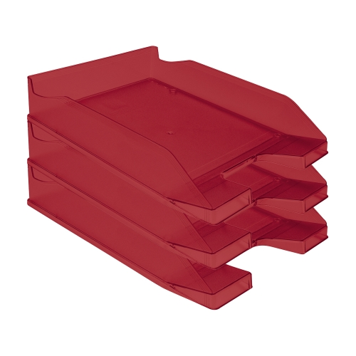 Q-Connect KF04196. Bandeja sobremesa plástico rojo transparente