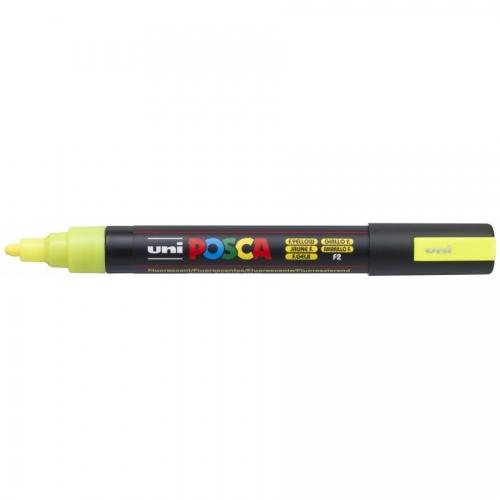 UNI POSCA PC-5M Amarillo Fluor. Marcador de pintura no permanente. Trazo 1,8 - 2,5 mm.