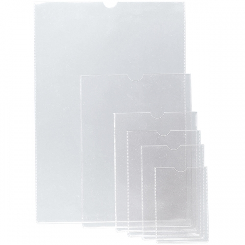 GRAFOPLÁS 05650000. Pack 50 fundas transparentes PVC flexible 121 x 84 mm. con uñero