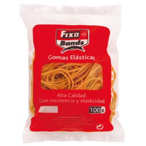 GRAFOPLAS 00045040. Bolsa de gomas elásticas de 1,5 x 40 mm (100 gr.)