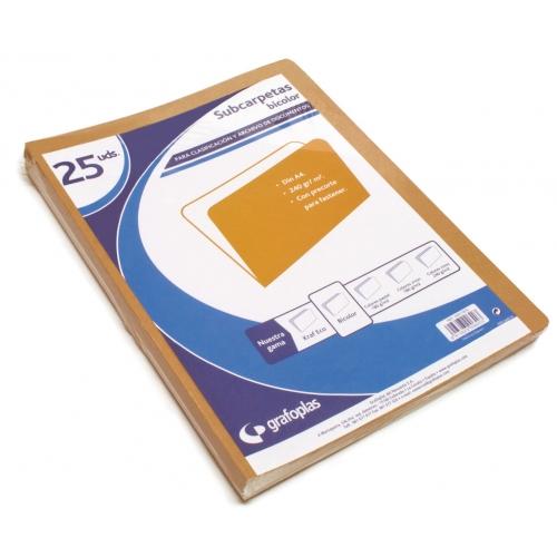 GRAFOPLAS 00017876. Pack 200 subcarpetas bicolor (kraft+blanco) A4 de 240 gr.