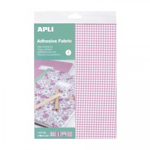 APLI 17116. Tela adhesiva A4 tonos rosas 4 hojas