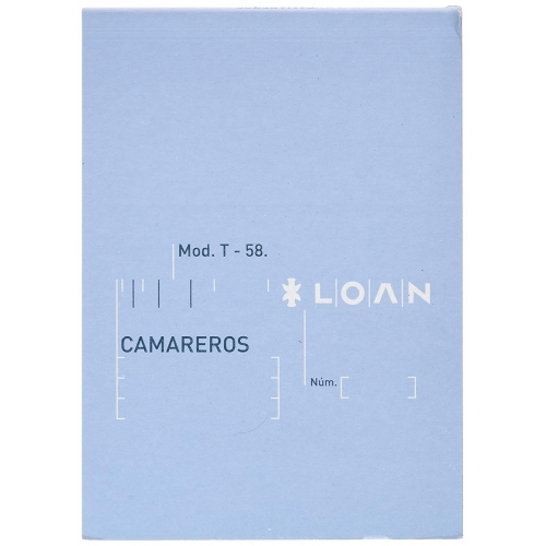 LOAN T-58. Talonario camareros 8º natural papel litos (10,5 x 15 cm.)
