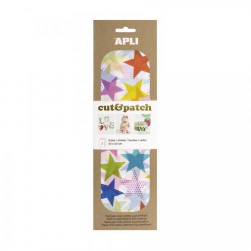 APLI 17220. Papel Cut&Patch Estrellas colores 3 hojas
