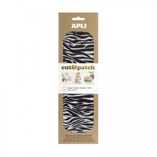 APLI 17223. Papel Cut&Patch Cebra 3 hojas
