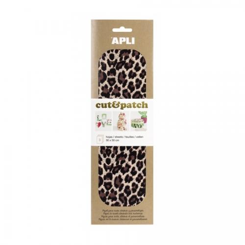 APLI 17225. Papel Cut&Patch Leopardo 3 hojas