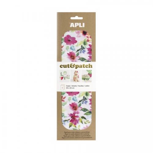 APLI 17230. Papel Cut&Patch Flores 3 hojas