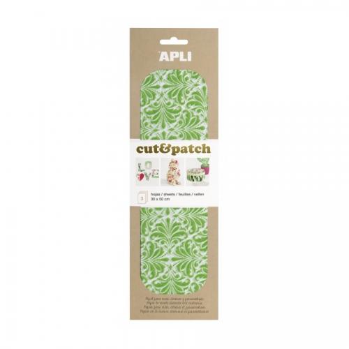 APLI 17232. Papel Cut&Patch Verde y blanco 3 hojas