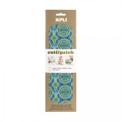 APLI 17233. Papel Cut&Patch Verde y azul 3 hojas