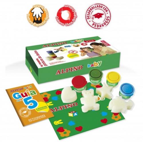 ALPINO DD001060. Estuche de 4 colores de pintura dedos + esponjas de formas + mantel