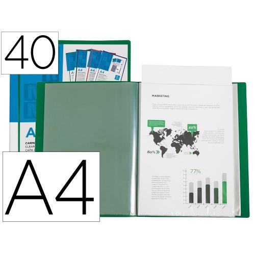 Liderpapel 11050. Carpeta 40 fundas de polipropileno A4 verde
