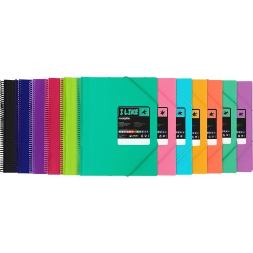 GRAFOPLAS 398222. Carpeta de 20 fundas Maxiplás Like A4 varios colores