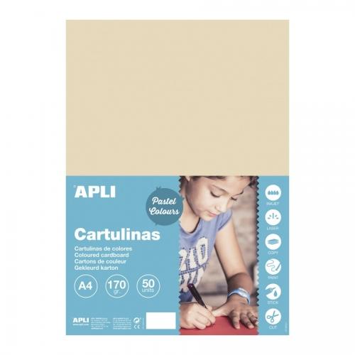 APLI 16498. Pack 50 hojas cartulinas A4 Color vainilla