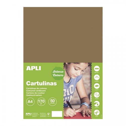 APLI 16499. Pack 50 hojas cartulinas A4 Color avellana