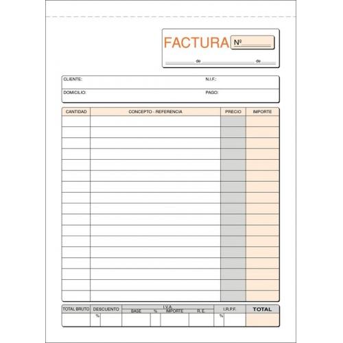 LOAN T-6. Talonario facturas 4º natural papel litos (15 x 21 cm.)