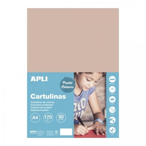 APLI 16500. Pack 50 hojas cartulinas A4 Color salmón