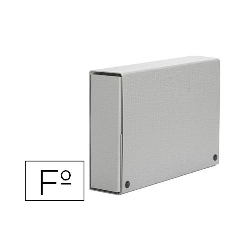 PARDO 969007. Carpeta proyectos folio lomo 90 mm carton forrado gris con broche.