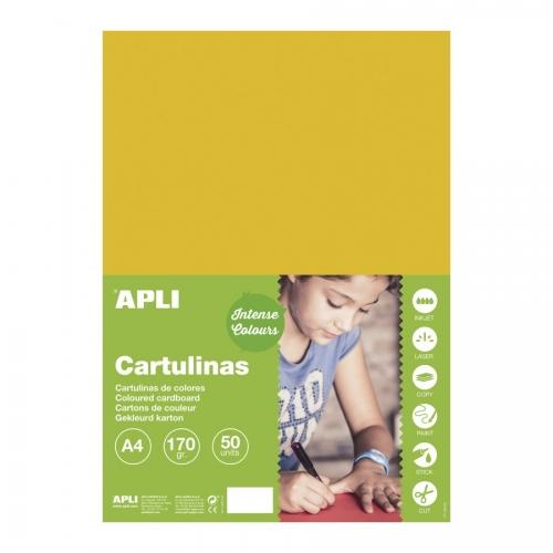 APLI 16501. Pack 50 hojas cartulinas A4 Color amarillo oro
