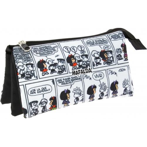 GRAFOPLAS 37540671. Estuche escolar portatodo triple Mafalda Comic