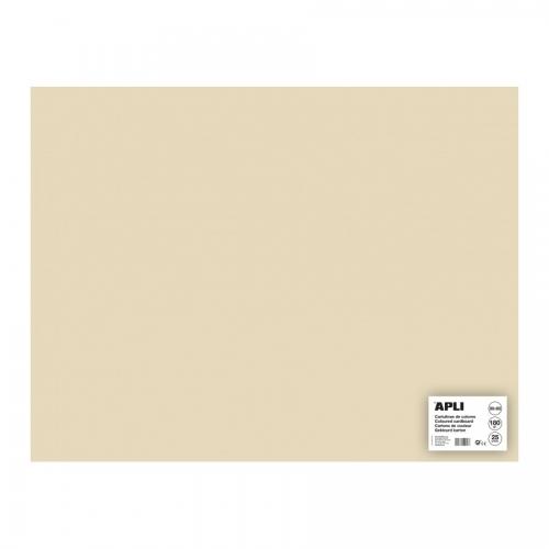 APLI 16503. Pack 25 hojas cartulina 50 x 65 cm Color vainilla