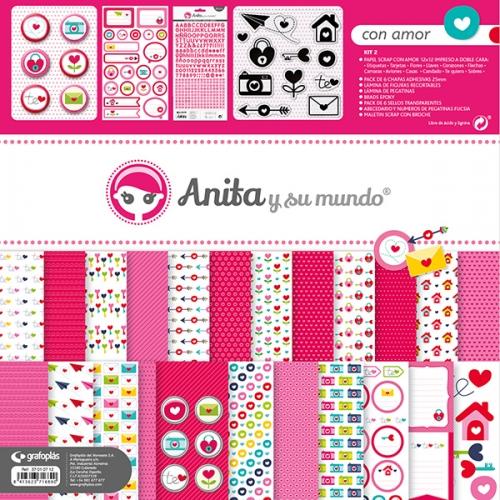GRAFOPLAS 37010712. Kit maletín Scrapbooking colección Con amor de Anita y su mundo