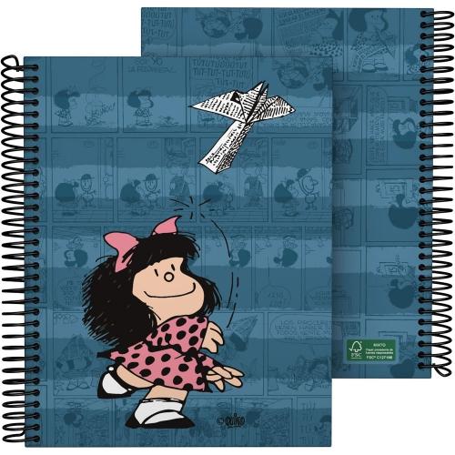 GRAFOPLÁS 16512637. Cuaderno tapa dura A5, 90 hojas, Mafalda Avión