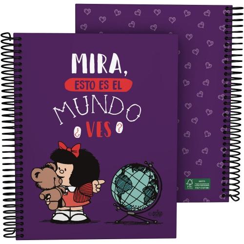 GRAFOPLÁS 16512638. Cuaderno tapa dura A5, 90 hojas, Mafalda Mundo