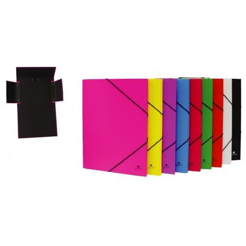 Mariola 4786AZ. Carpeta de gomas con solapas folio de cartón plastificado azul