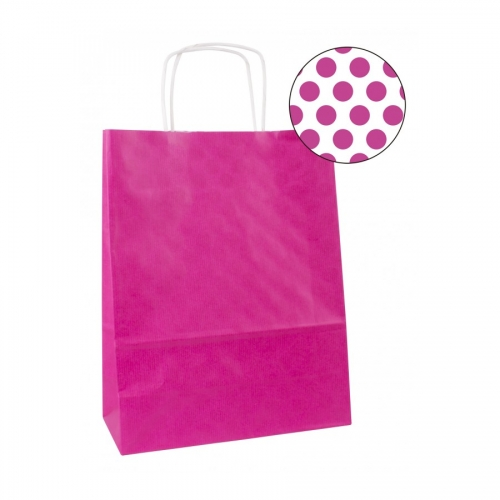 APLI 101839. Pack 50 bolsas de papel kraft color fucsia (32 x 16 x 39 cm.)