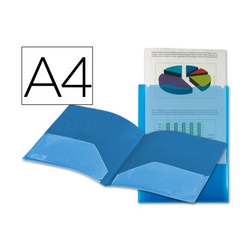 Liderpapel 27848. Carpeta dossier dos bolsas A4 de polipropileno azul transparente