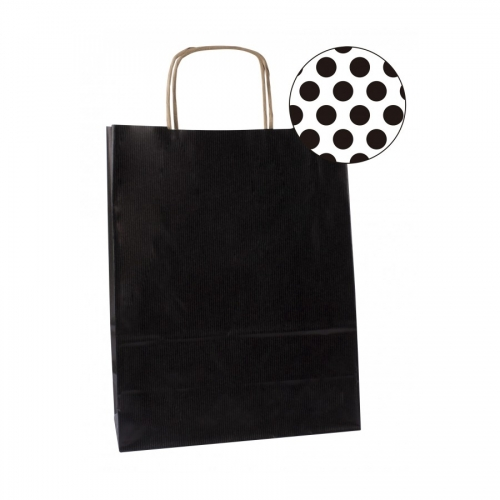 APLI 101841. Pack 50 bolsas de papel kraft color negro (32 x 16 x 39 cm.)