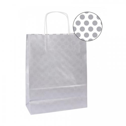 APLI 101850. Pack 50 bolsas de papel kraft color plata (25 x 11 x 31 cm.)