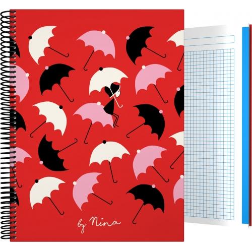 GRAFOPLAS 16501976. Cuaderno tapa dura A4 Nina Umbrellas